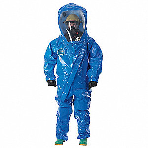 Level B Rear-Entry Encapsulated Training Suit, Blue, Size M, Interceptor Film Composite