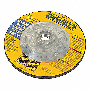 "4-1/2"" Type 27 Aluminum Oxide Depressed Center Wheels, 5/8""-11 Arbor, 1/4""-Thick, 13,300 Max. RPM"