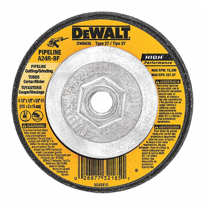152 Pack Hardness Grade N 1//4 in Thick 7//8 Arbor 4 1//2 in Dia Depressed Center Wheel