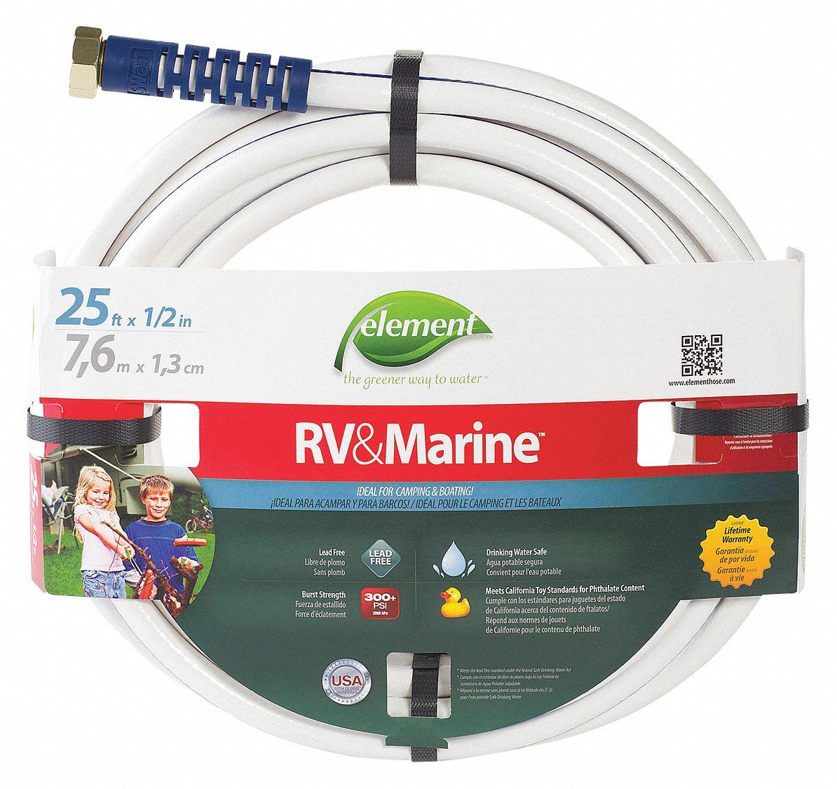 Water Hose, PVC, 300 Psi, White   6HFZ8|ELMRV12025   Grainger