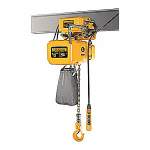 Electric Chain Hoist w/Trolley,1000 lb.