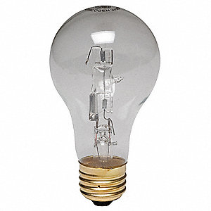 53 Watts Halogen Lamp, A19, Medium Screw (E26), 1050 Lumens, 2850K Bulb Color Temp.