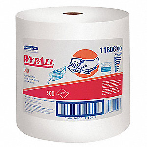 White Fiber Wypall Wiper Rolls, Number of Sheets 900