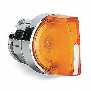 22mm LED 2- Position Illuminated Selector Switch Operator, Metal, Yellow