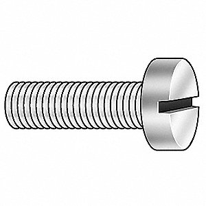 M2.5-0.45mm Machine Screw, Property Class 4.8 Steel, 10mm L, 100 PK