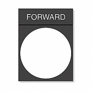22mm Rectangular Forward Legend Plate, Plastic, White/Black and Red