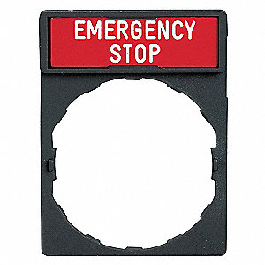 22mm Rectangular Emergency Stop Legend Plate, Plastic, White/Red