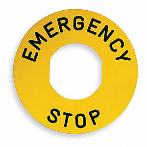 22mm Round Emergency Stop Legend Plate, Plastic, Black/Yellow