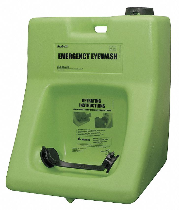 Eye Wash Station,  16.0 gal Tank Capacity,  Activates By Elastomeric Pull Strap,  Wall Mounting