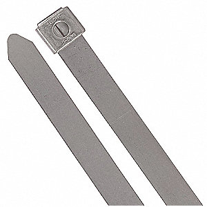Cable Tie, 304 Stainless Steel, Silver, Indoor, Tensile Strength: 200 lb.