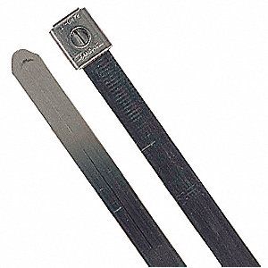 Cable Tie, 316 Stainless Steel, Silver, Indoor, Tensile Strength: 250 lb.