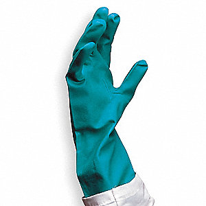 15.00 mil Nitrile Chemical Resistant Gloves, Green, Size 9, 1 PR