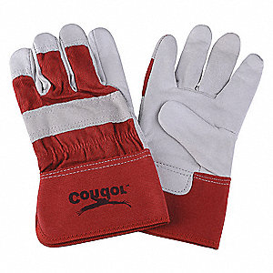 Goatskin Leather Work Gloves, Safety Cuff, Red/White, Size: L, Left and Right Hand