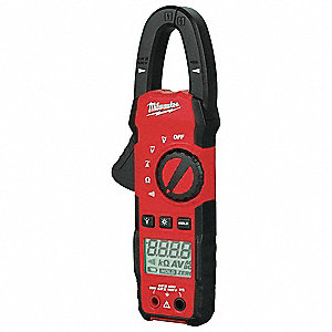 "Clamp On Digital Clamp Meter, 1"" Jaw Capacity, CAT III"