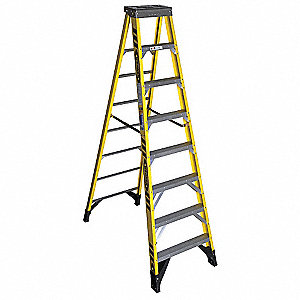 Stepladder,Fiberglass,8 ft. H,375 lb Cap
