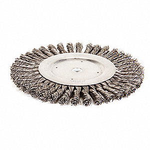"Arbor Hole Wire Wheel Brush, Twist Wire, 8"" Brush Dia."