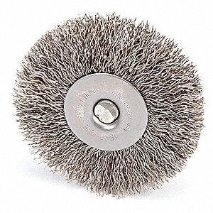 "Shank Wire Wheel Brush, Crimped Wire, 3"" Brush Dia."