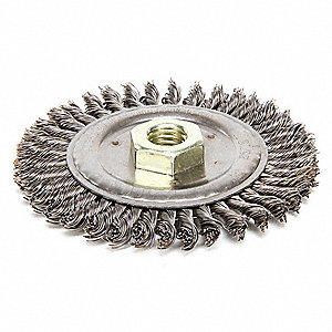 "4-1/2"" Twisted Wire Wheel Brush, Arbor Hole Mounting, 0.020"" Wire Dia., 13/16"" Bristle Trim Length,"
