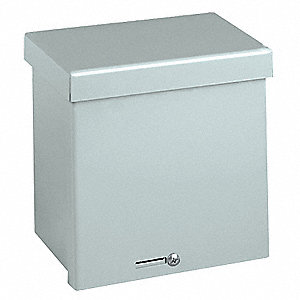 "12""H x 12""W x 8""D Metallic Enclosure, Silver, Knockouts: Yes, Padlockable Hasp, Screws Closure Metho"