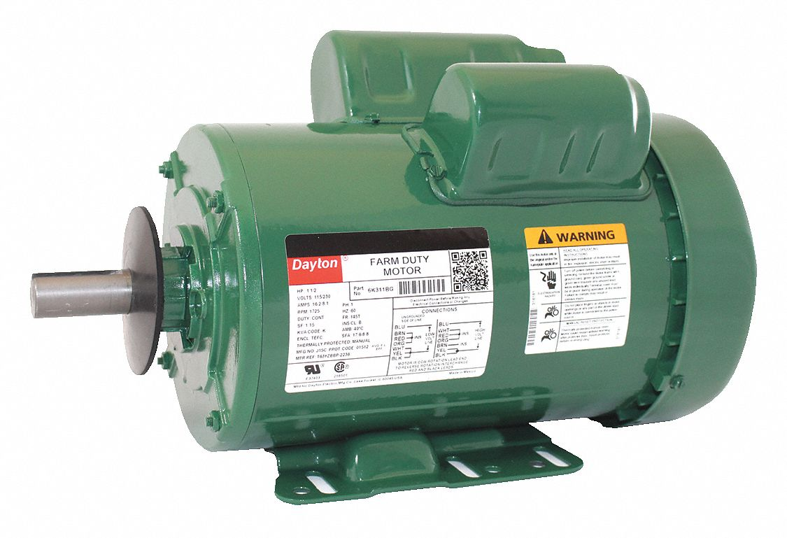1-1/2 HP High Torque Farm Duty Motor,Capacitor-Start/Run,1725 Nameplate on