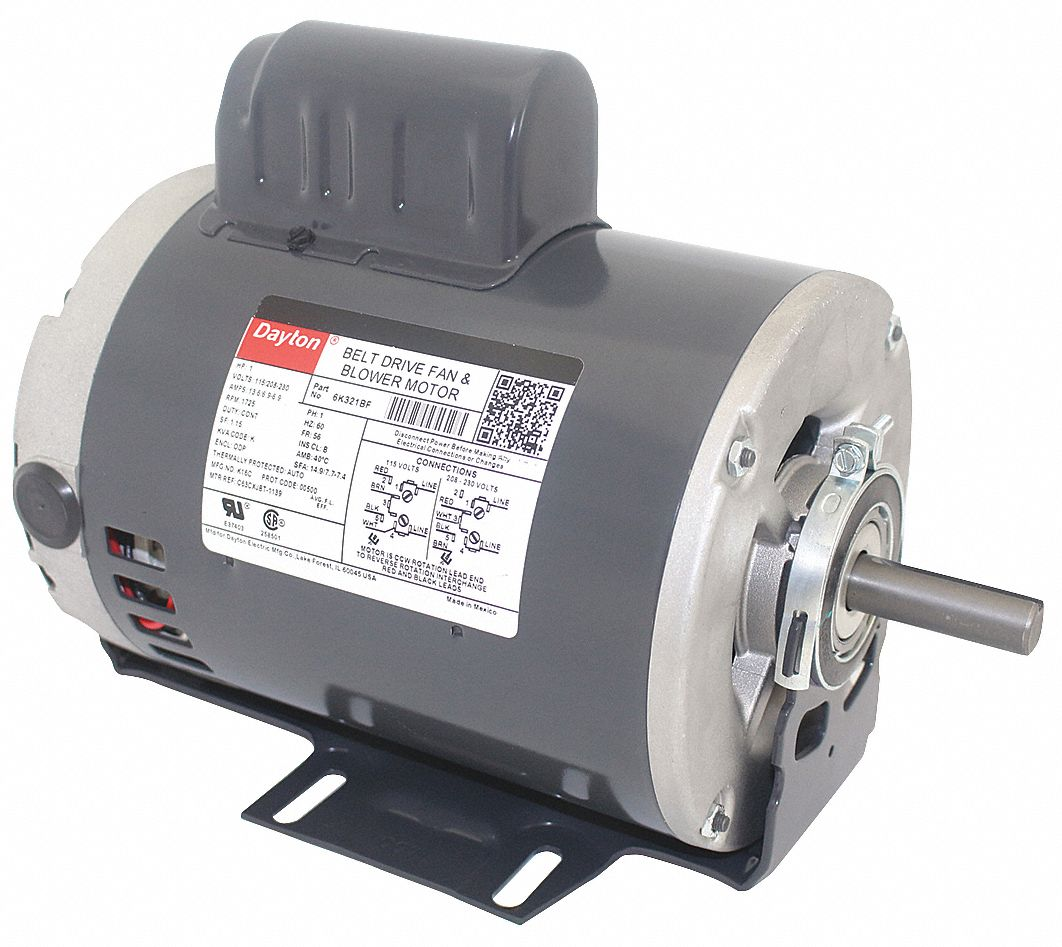 dayton 1 hp belt drive motor, capacitor-start, 1725 nameplate rpm,  115/208-230 voltage, frame 56 - 6k321|6k321 - grainger