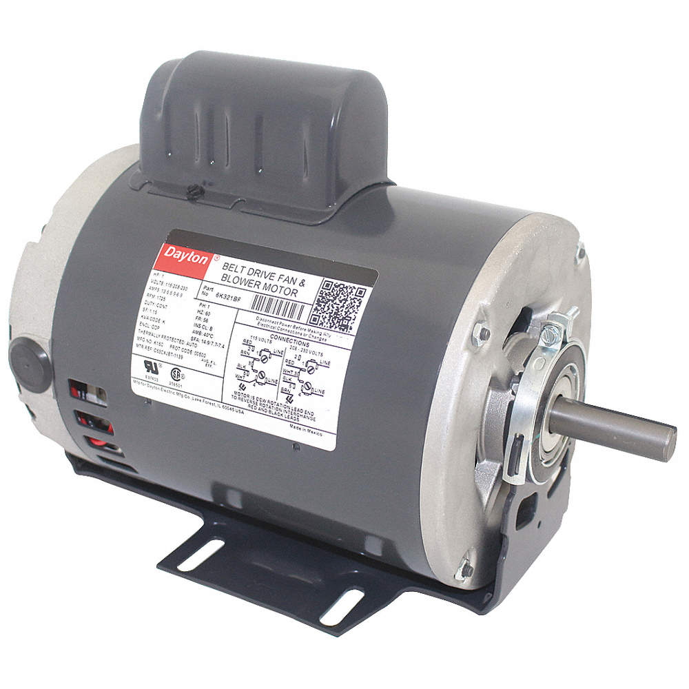 1 HP Belt Drive Motor, Capacitor-Start, 1725 Nameplate RPM, 115/208-230 Dayton Lr Electric Motor Wiring Diagram on