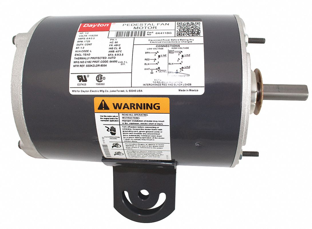 1/2 HP Pedestal Fan Motor, Split-Phase, 1725 Nameplate RPM,115/230 Voltage,  Frame 48YZ