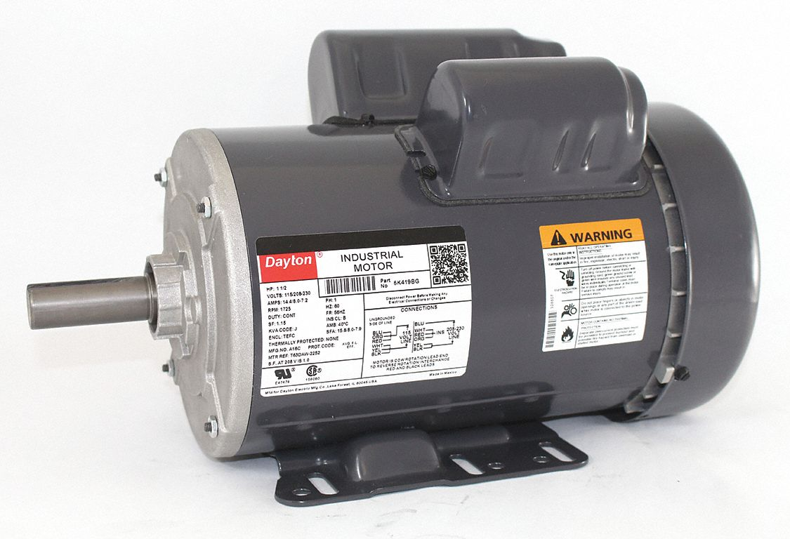 DAYTON 1-1/2 HP General Purpose Motor,Capacitor-Start/Run,1725 Nameplate  RPM,Voltage 115/208-230,Frame 56HZ - 6K419|6K419 - Grainger