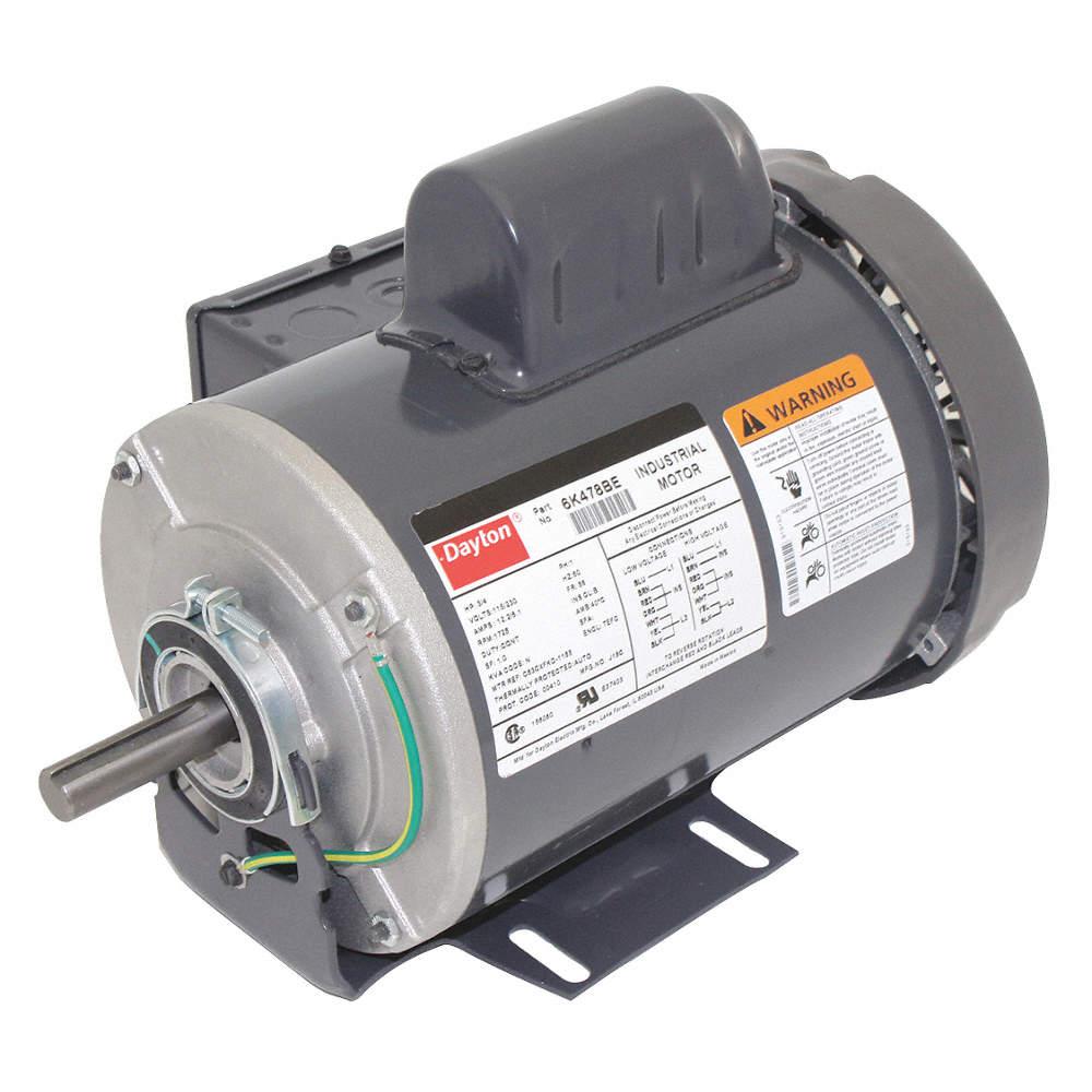 3/4 HP General Purpose Motor,Capacitor-Start,1725 Nameplate RPM,Voltage Dayton Electric Motor Hp V Wiring Diagram on