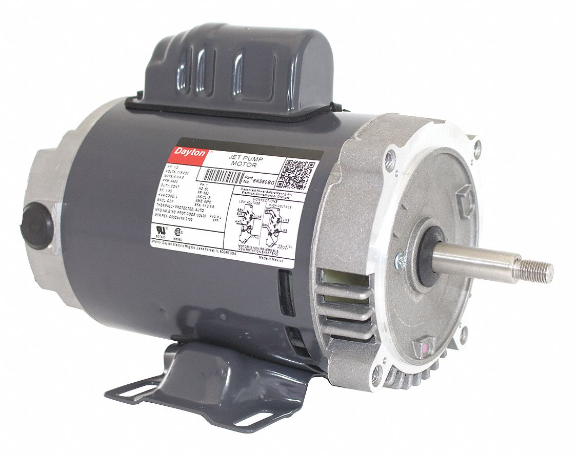 1/2 HP Jet Pump Motor, Capacitor-Start, 3450 Nameplate RPM, 115/230 Dayton Motor Wiring Diagram Model K on