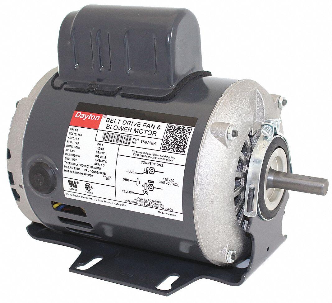 Dayton 1 3 Hp Belt Drive Motor Split Phase Start Capacitor Run Wiring Diagram Further 1725 Nameplate Rpm 115 Voltage Frame 48 6k871 Grainger