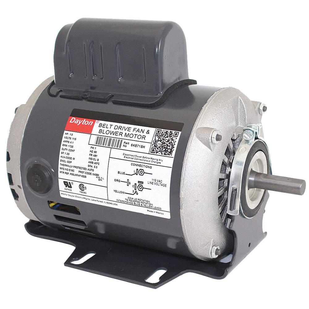 1/3 HP Belt Drive Motor, Split-Phase Start/Capacitor-Run, 1725 Nameplate Dayton Electric Motors Wiring Diagram Capacitor on