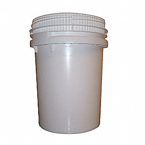Pail,Screw Top,Round,10.7 gal,HDPE,White