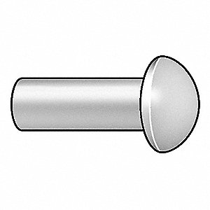 "1"" Aluminum Solid Rivet with Round Rivet Head Style, 3/16"" Dia., Plain"