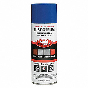 Industrial Choice Spray Paint in Gloss OSHA Safety Blue for Masonry, Metal, Plastic, Wood, 12 oz.
