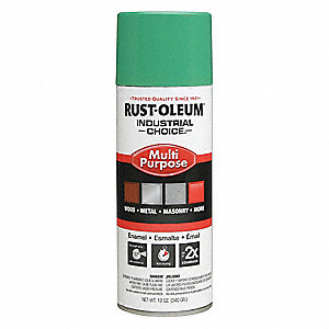 Industrial Choice Spray Paint in Gloss OSHA Safety Green for Masonry, Metal, Plastic, Wood, 12 oz.