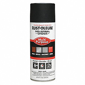 Industrial Choice Spray Paint in Semi-Flat Black for Masonry, Metal, Plastic, Wood, 12 oz.