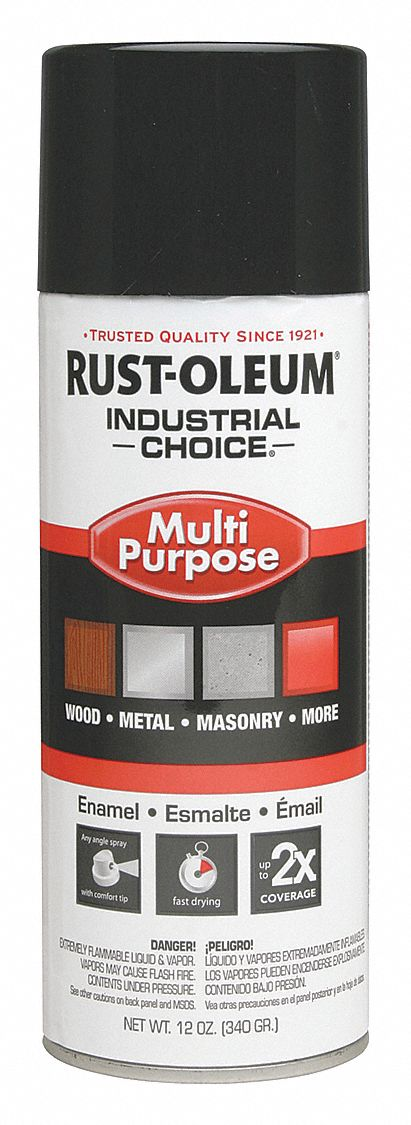 Industrial Choice Spray Paint in Gloss Black for Masonry, Metal, Plastic, Wood, 12 oz