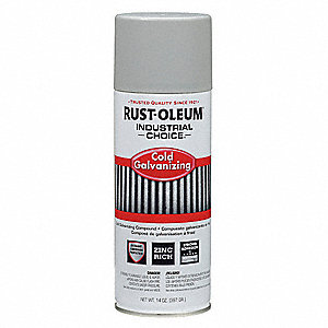 Industrial Choice Spray Paint in Flat Galvanized Zinc for Masonry, Metal, Plastic, Wood, 14 oz.