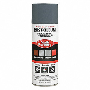 Industrial Choice Spray Paint in Gloss Universal Gray for Masonry, Metal, Plastic, Wood, 12 oz.