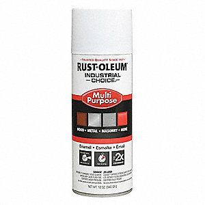 Industrial Choice Spray Paint in Flat White for Masonry, Metal, Plastic, Wood, 12 oz.