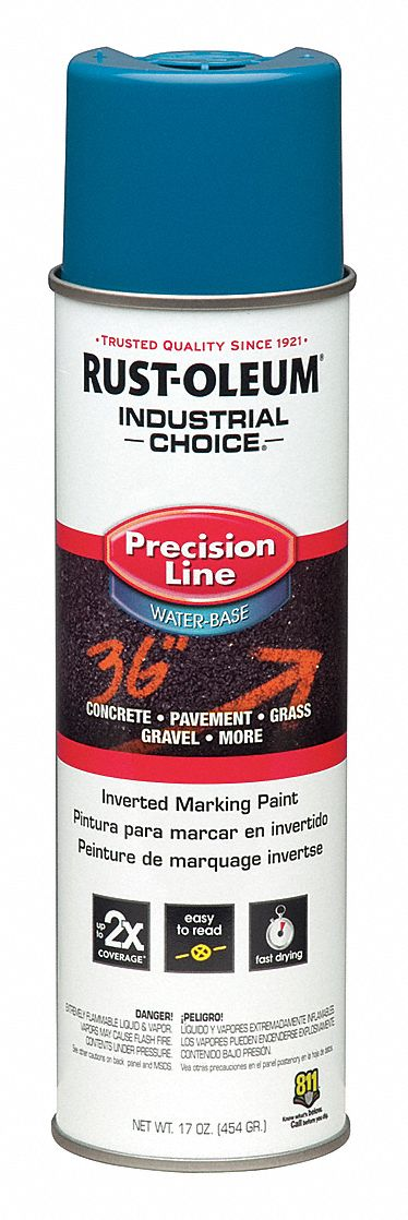 Water-Base Precision Line Marking Paint, Caution Blue/APWA Blue, 17 oz