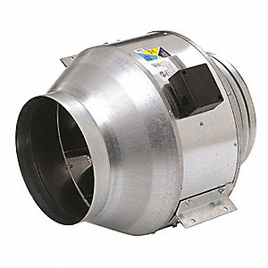 "Steel Inline Centrifugal Duct Fan, Fits Duct Dia. 8"", Voltage 120V"