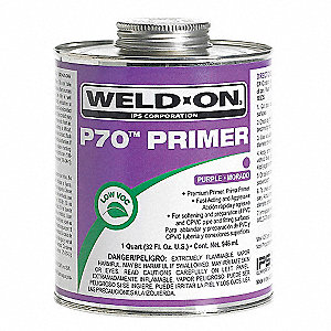 Purple Primer, PVC and CPVC, Size 16, For Use With PVC and CPVC Pipe