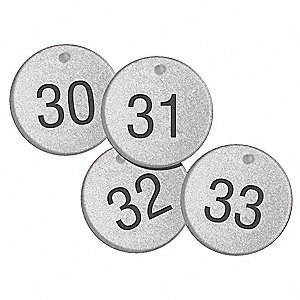 "Number Tags,1-1/2"",Round,176to200,PK25"