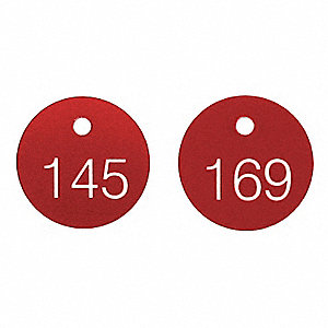 White/Red Engraved Numbered Tags, Phenolic ABS Plastic, Round, 100 PK