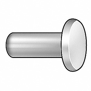 "1/2"" Aluminum Solid Rivet with Flat Rivet Head Style, 1/8"" Dia., Plain"