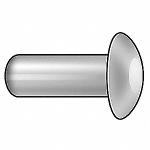 "1/2"" Aluminum Solid Rivet with Universal Rivet Head Style, 1/8"" Dia., Plain"