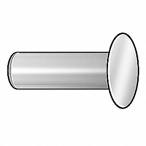 "3/8"" Nickel Plated Mild Steel Tubular Rivet with Countersunk Head Style, 9/64"" Dia., 0.156"" Hole Siz"