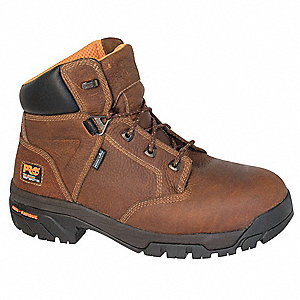 "6""H Men's Work Boots, Alloy Toe Type, Leather Upper Material, Brown, Size 8-1/2W"